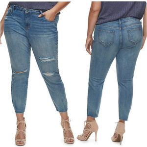 Jennifer Lopez Distressed Skinny Ankle Jeans 24W